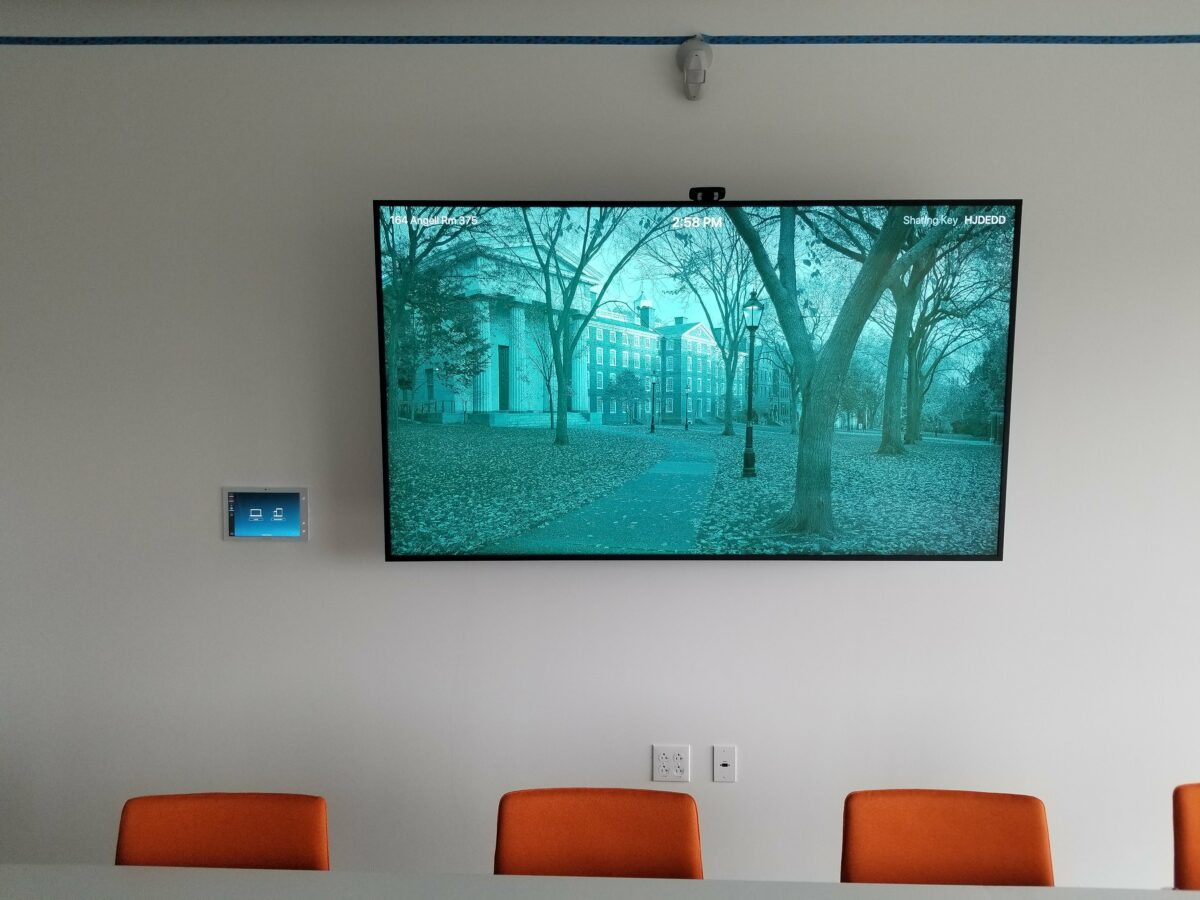 Example of a huddle room screen