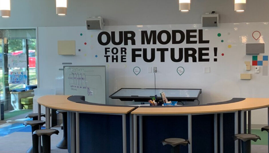 """Signage in Eden Park elementary school, reading """"our model for the future"""""""